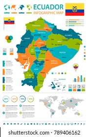 Ecuador infographic map and flag - High Detailed Vector Illustration