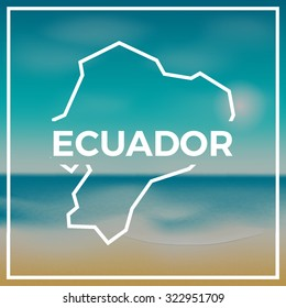 Ecuador map against the backdrop of beach and tropical sea with bright sun. EPS10 vector