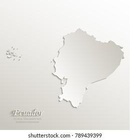 Ecuador map card paper 3D natural vector