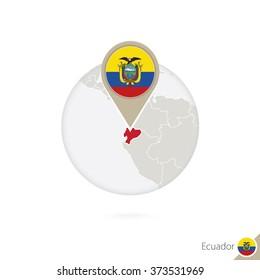 Ecuador map and flag in circle. Map of Ecuador, Ecuador flag pin. Map of Ecuador in the style of the globe. Vector Illustration.