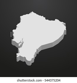 Ecuador map in gray on a black background 3d