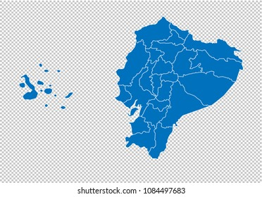 ecuador map - High detailed blue map with counties/regions/states of ecuador. ecuador map isolated on transparent background.
