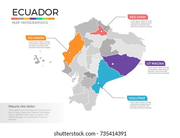 Ecuador map infographics vector template with regions and pointer marks