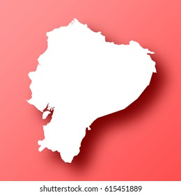 Ecuador Map isolated on red background with shadow. High detailed vector map.  Template for your design, website, infographic, brochure, cover, business annual report,...