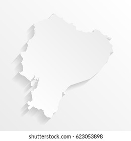 Ecuador Map with shadow. Cut paper isolated on a white background. Vector illustration.