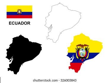 Ecuador map vector, Ecuador flag vector, isolated Ecuador