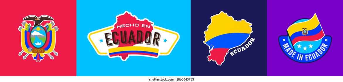 Ecuador national flag and shield, icons set, sticker, made in Ecuador, map, vector illustration, symbol, sign, collection, latin america, silhouette, symbolic, emblem, identity, nation.