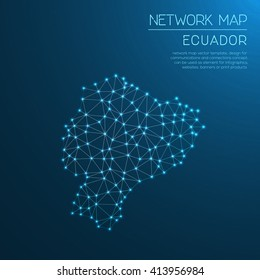 Ecuador network map. Abstract polygonal Ecuador network map design with glowing dots and lines. Map of Ecuador networks. Vector illustration.