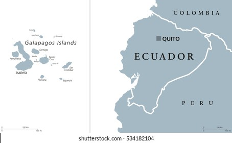 Ecuador political map with capital Quito and the Galapagos Islands in the Pacific Ocean. Republic in South America. Gray illustration with English labeling on white background. Vector.