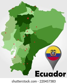 Ecuador political map with green shades and map pointer.