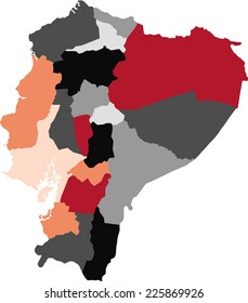 Ecuador political map with pastel colors.