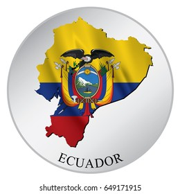 Ecuador Vector Sticker With Flag and Map. Label, Round Tag With Country Name.