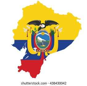 Ecuadorian flag and map isolated on white background.
