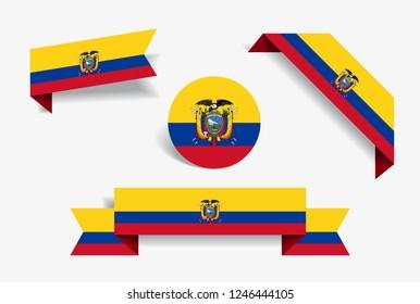 Ecuadorian flag stickers and labels set. Vector illustration.