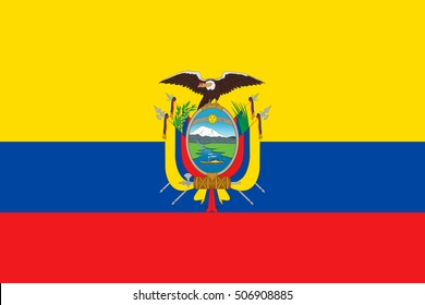 Ecuadorian national official flag. Patriotic symbol, banner, element, background. Accurate dimensions. Flag of Ecuador in correct size and colors, vector illustration
