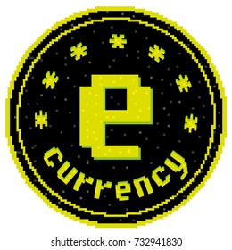 E-currency. Represents a coin of electronic currency in a pixel retro style. E-business. E-commerce. Bitcoin.