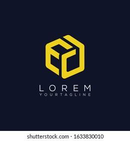 ED DE D EOD  triple cubic alphabet letter vector geometric font icon & Logo for your design