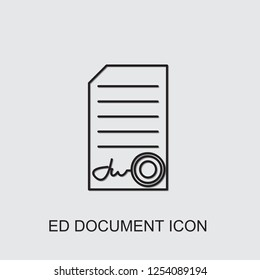 ed document icon . Editable line ed document icon from office. Trendy ed document icon for web and mobile.