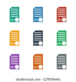 ed document icon white background. Editable filled ed document icon from office. Trendy ed document icon for web and mobile.
