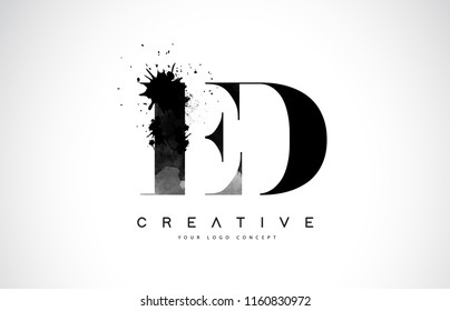 ED E D Letter Logo Design with Black Ink Watercolor Splash Spill Vector Illustration.