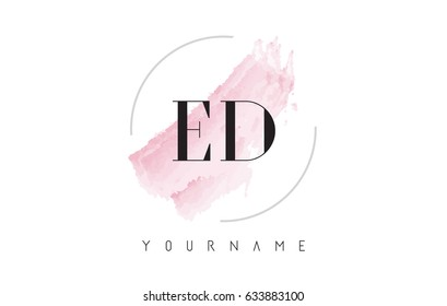 ED E D Watercolor Letter Logo Design with Circular Shape and Pastel Pink Brush.