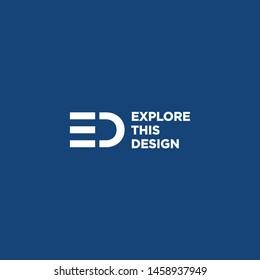ED Logo Design Blue and White