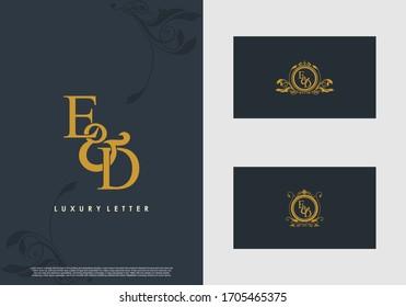 ED logo initial vector mark. Gold color elegant classical symmetric curves decor.