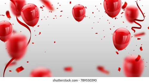 ed White balloons, confetti concept design template Happy Valentine's Day, background Celebration Vector illustration.