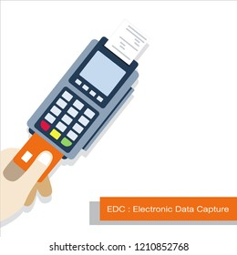 EDC (Electronic Data Capture)on the white background: easy way to pay money