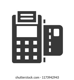 EDC machine and credit card, bank and financial related icon, glyph design