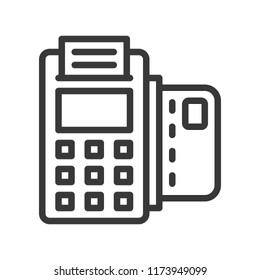 EDC machine and credit card, bank and financial related icon, editable stroke outline
