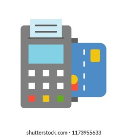 EDC machine and credit card, bank and financial related icon