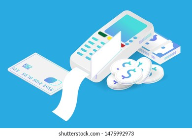 EDC machine credit card payment and smart transaction financial, Banknote and dollar coin stack in isometric design.