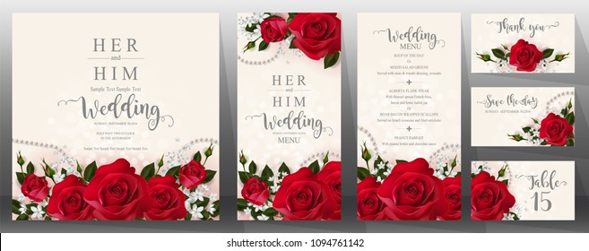 edding Invitation card templates with realistic of beautiful red rose and flower on background color.