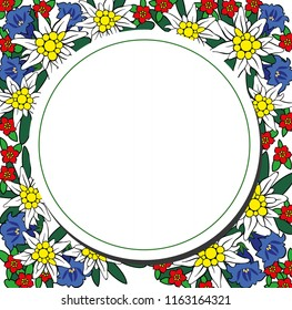 Edelweiss and alpine flowers circle frame