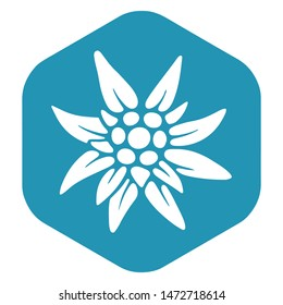 Edelweiss badge. A simple illustration of the Edelweiss vector icon for the Internet. Traditional Bavarian symbol.