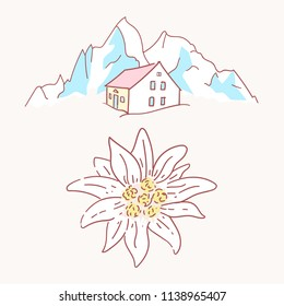 edelweiss chalet hut cabin mountains symbol alpinism alps germany logo