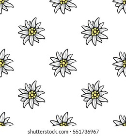 Edelweiss flower seamless pattern background texture tile
