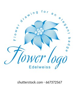 Edelweiss is a logo template, a flower for an elegant corporate identity with symbol of an open edelweiss flower, a water lily, a lotus or other abstract floret. Element of graphic design.