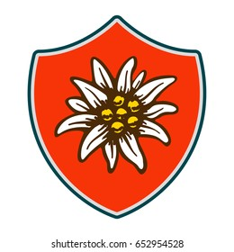 edelweiss shield flower symbol alpinism alps germany logo