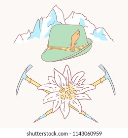 edelweiss tyrolean hat alpenstock flower symbol alpinism alps germany logo