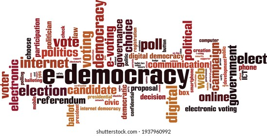 E-democracy word cloud concept. Collage made of words about e-democracy. Vector illustration