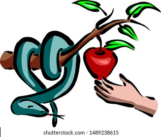 Eden apple rips off hand. the snake stores the apple.