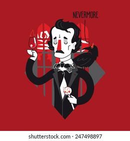 Edgar Allan Poe vector illustration