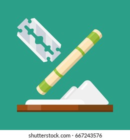 Edged razor blade with a pile of cocaine and money pipe. Cartoon style. Vector illustration.