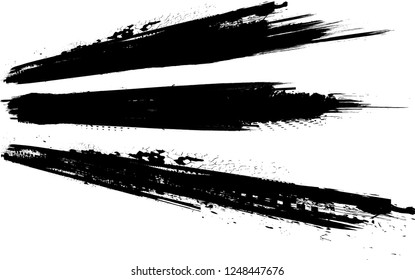 Edges Vector Set . Design Elements . Curved Grunge Borders , Dividers or Brush Strokes . Black straight lines . stripes with  grunge effects