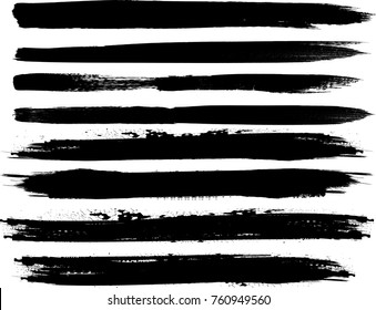 Edges Vector Set . Design Elements . Curved Grunge Borders , Dividers or Brush Strokes . Black wavy lines . stripes with  grunge effects