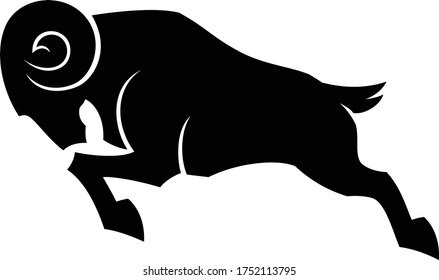 Edgy Design of Silhouette Ram Attacking Simple Vector