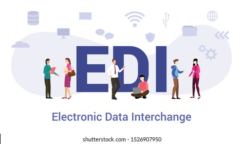 edi electronic data interchange concept with big word or text and team people with modern flat style - vector