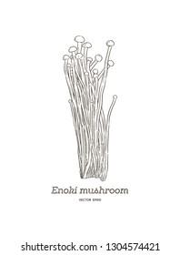 edible enoki mushrooms (Enokitake) cartoon vector. Hand draw sketch vector.